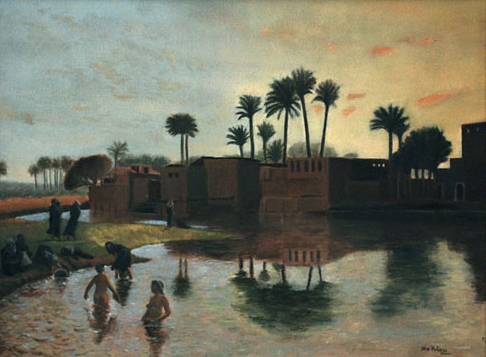Bathers by the edge of the river